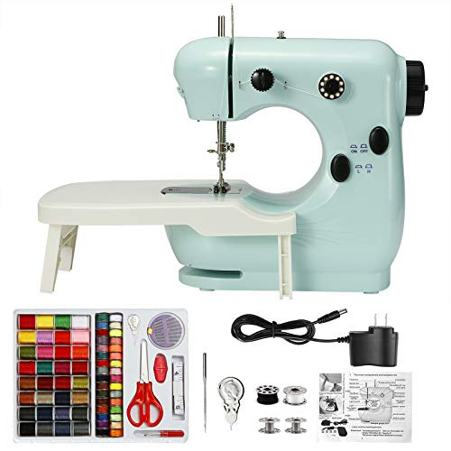 115 PCs Mini Sewing Machine Portable Sewing Machine with Extension Table and Foot Pedal Double Thread with Light 100 Thread Sewing Pack is InvolvedNice Gift for Kid Christmas Housewarming