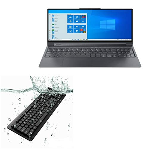 BoxWave Keyboard for Lenovo Yoga 9i (15 in) [AquaProof USB Keyboard] Washable Waterproof Water Resistant USB Keyboard for Lenovo Yoga 9i (15 in) - Jet Black