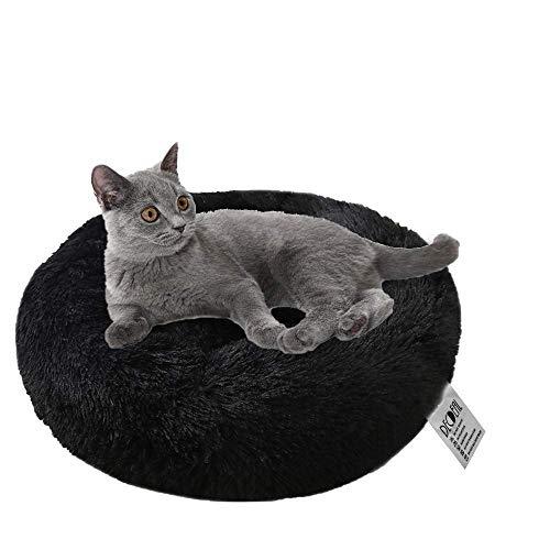 Decdeal Cama de Gato Donut Cama Redonda Cómoda Felpa Corto con una Bola de Sisal Juguete Nido de Gatitos Cachorros para Dormir Descansar