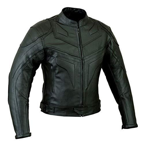 Batman Estilo Hombre Smart Fit Moto Chaqueta de Cuero - Negro, 4XL