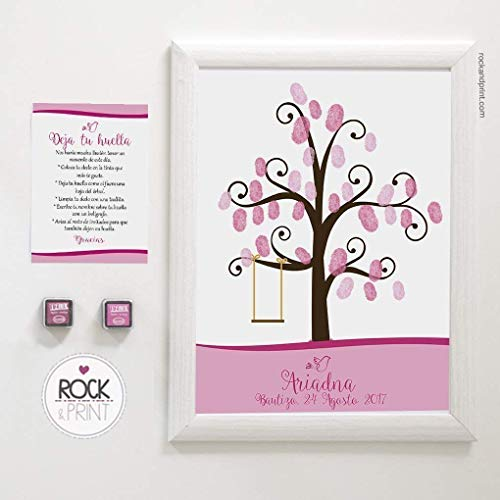 Árbol columpio para huellas de invitados. Incluye marco y tintas a elegir. Elige el color de la lámina. Cuadro para comunión y bautizo.