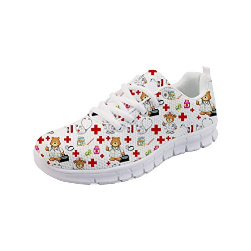 Nopersonality Damen Herren Laufschuhe Turnschuhe Sneaker Atmungsaktiv Sportschuhe Running Gym Bär Schuhe Prints Cartoon Nurse Bear Running Sport Fintess Shoes für Krankenschwestern 40 EU
