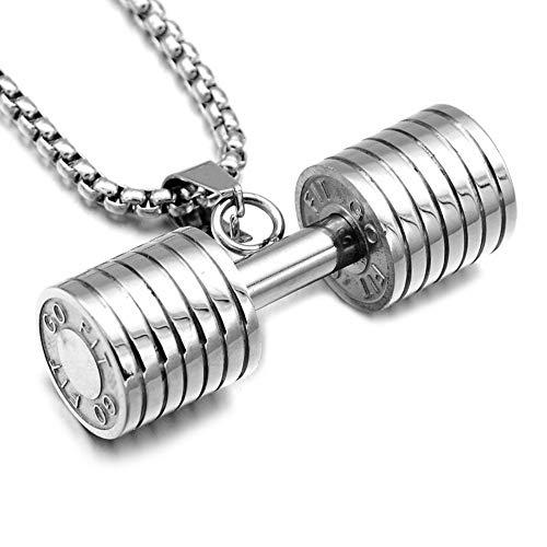 Collar con colgante de acero inoxidable de titanio de tres colores con mancuerna de acero inoxidable para hombre 44mm*14mm plateado