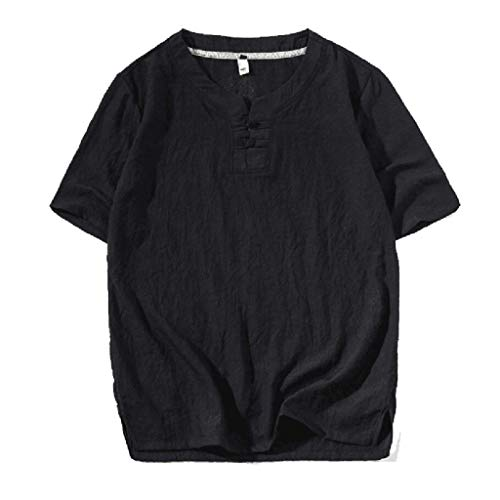 Xmiral T-Shirt Herren Kurzarm V-Ausschnitt Einfarbig Oberteile Große Größe Kurzarmshirt Männer Sommer Sweatshirt Basic Hemd(Schwarz,XXL)