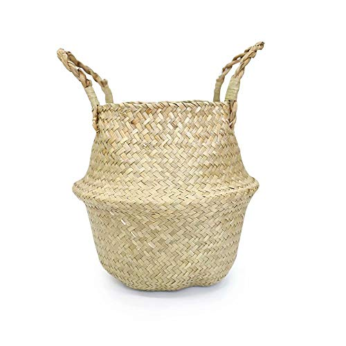 CSKB Natural Hand Woven Seagrass Flower Baskets Home Storage Baskets Laundry Basket Plant Decorative Baskets Picnic Bags with Handles Beach Bags, 12.6 inch