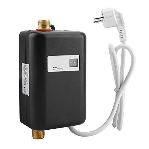 Mini-Durchlauferhitzer, 220V 3800W Elektronischer Durchlauferhitzer, Tankless Sofortiger Durchlauferhitzer für Badezimmer Küche, Digitale LCD-Temperaturanzeige(Schwarz)