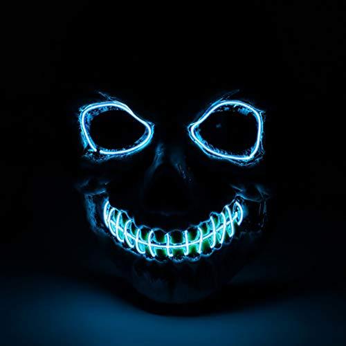 Fansport Maschera di Halloween Maschera di Cosplay Maschera Maschera di Halloween Spaventoso Scheletro Testa LED Light up