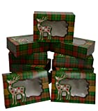 Christmas Cookie Gift Boxes with Window, Green and Red Plaid, 8 Inch Rectangle, for Gift Giving On...