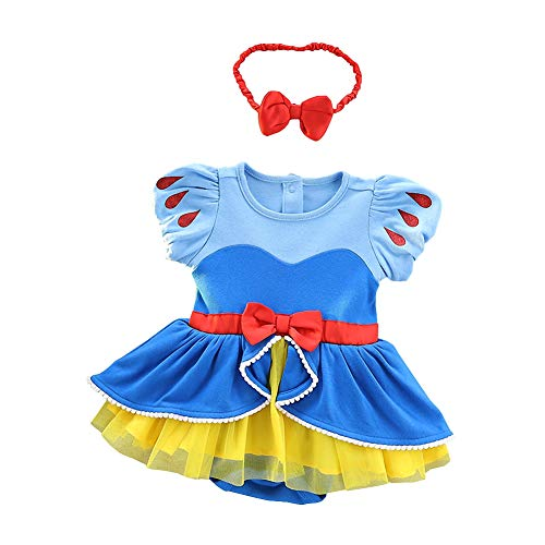Lito Angels Baby Girls Princess Costume Romper Snow White Onesie Fancy Birthday Halloween Christmas Party Dress with Headband Size 9-12 Months 212