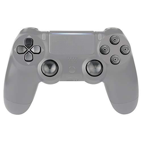 eXtremeRate Teclas de Repuesto para Controlador PS4 Botones Metálicos PS4 Joysticks Thumbsticks de reemplazo Botones de Aluminio Tecla Analógico Kit para Mando de PlayStaion 4 PS4 Slim Pro (Negro)