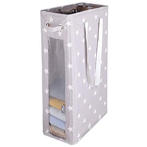 DOKEHOM 24-Inches Cestos para la Colada, Gran Servicio de lavandería, Plegable Bolsa de Lavado de Ropa Bin (Gris Star)