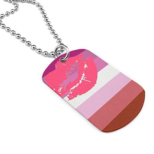 SHARP-Q Lipstick Lesbian Pride Flag Unisex Pendant Necklaces Brand of Necklace
