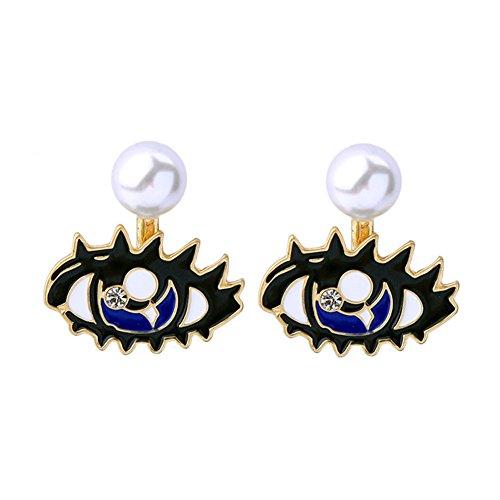 18K chapado en oro dos tonos desmontable turco ojo & Simulado Perla Mujeres Stud Pendientes, negro