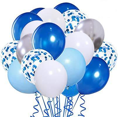 Blue Balloons50pcs 12 inch Metallic silver Balloons and withe Balloon Navy Light Blue balloons Blue confetti Latex Balloons for Birthday Wedding Baby Shower Celebration Graduation Party Balloons