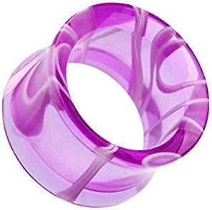 Covet Jewelry Marble Swirl Acrylic Double Flared Ear Gauge Tunnel Plug 4 GA 5mm Purple product image