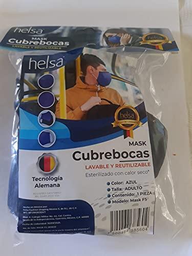 HELSA CUBREBOCAS DE TELA MASK-L04 NEGRO/ ADULTO/ PAQUETE CON 5 PIEZAS DE CUBRBEOCAS LAVABLES HASTA 50 VECES Y REUTILIABLES
