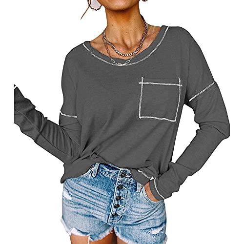 Novedades para Mujer OtoñO/Invierno Gran Oferta Color Puro Casual Bolsillo Suelto Manga Larga Camiseta para Mujer Top
