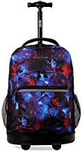 J World New York Sunrise Rolling Backpack. Roller Bag with Wheels, Galaxy, One Size