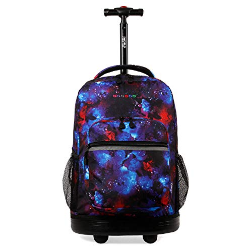 """J World New York Sunrise Rolling Backpack. Roller Bag with Wheels, Galaxy, 18"""""""