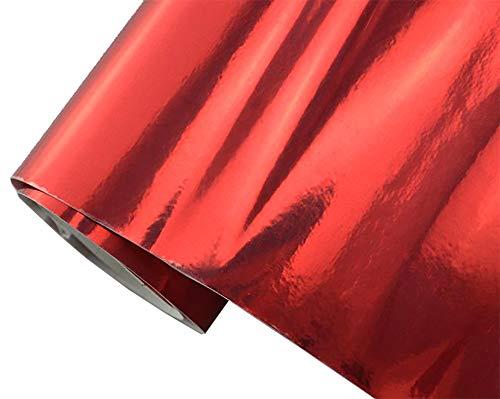 6€/m² Auto Folie - Chrom rot 30 x 150 cm - selbstklebend BLASENFREI flexibel Car Wrapping Klebefolie folieren