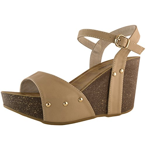 DailyShoes Chunky Wedge Heels High Wedges Sandals Ankle Strap Open Toe Platform The Top Beach Party Straps Buckle Waverly-06 Taupe Pu 7.5