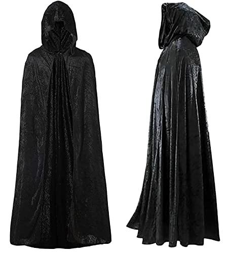 Capa con Capucha Terciopelo Largo Medieval, Disfraces de Bruja, Vampiro Princesa, Fiesta de Carnaval Halloween, para Hombre y Mujer (Negro, 140CM)