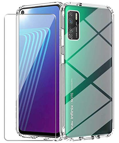 Infinix Note 7 Lite Case with Tempered Glass Screen Protector Crystal Soft Clear Shockproof TPU Bumper Transparent Silicone Protective Phone case Cover for Infinix Note 7 Lite