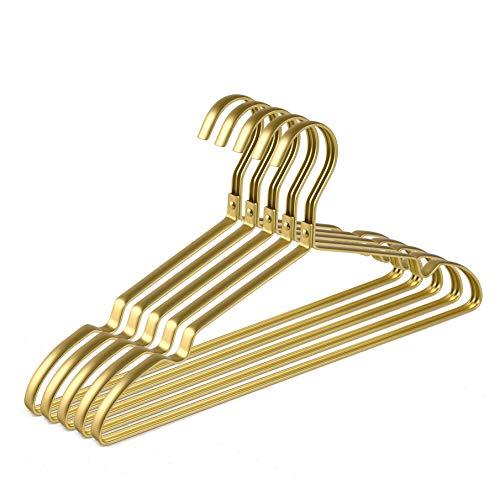Amber Home 20 Unidades 42cm Perchas de Hierro Aluminio Dorados, Dorada Metálico Percha para Trajes Camisetas...