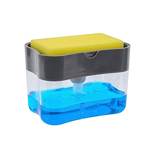 Appearanice 2 In1 Kitchen Liquid Soap Pump Dispenser Sponge Holder Press Countertop Rack