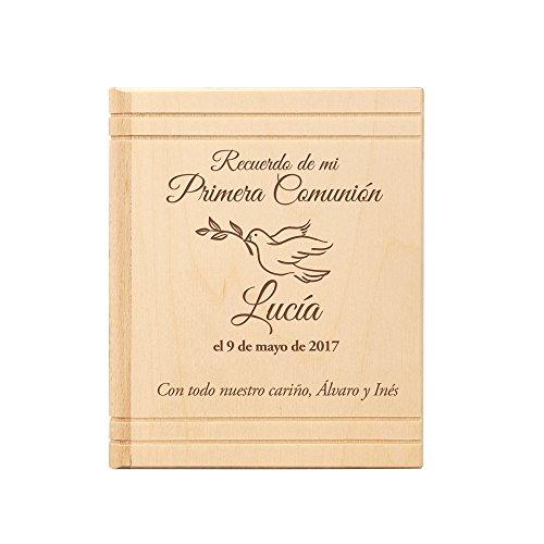 Hucha con forma de Biblia – Regalos para la Primera Comunión– Con mensaje personalizado – Con Nombre, Fecha y Dedicatoria – Con Paloma grabada – De madera de abedul – Recuerdos de Primera Comunión