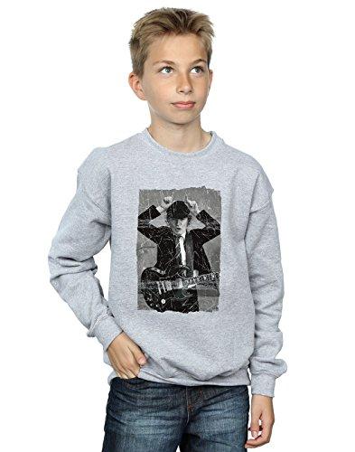 AC/DC niños Angus Young Distressed Photo Camisa De Entrenamiento 12-13 Years Gris Sport