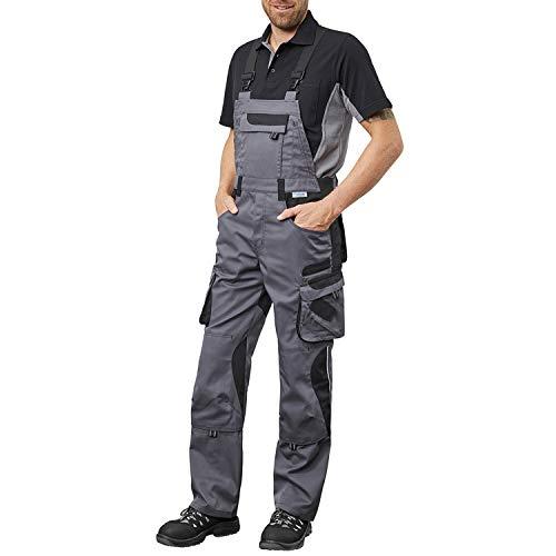 Pionier ® workwear Latzhose Arbeitshose   reißfest strapazierfähig UV-Schutz   Cargohose mit Handytasche Kniepolstertasche Stauraum   grau/schwarz 54