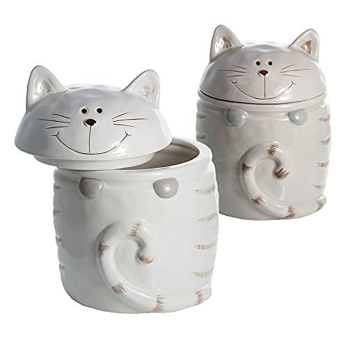 Set di 2 Barattoli da cucina in ceramica a forma di gatto per la conservazione ti té, caffé, zucchero, contenitore per cucina, bagno o uso generale, regalo per amante dei gatti