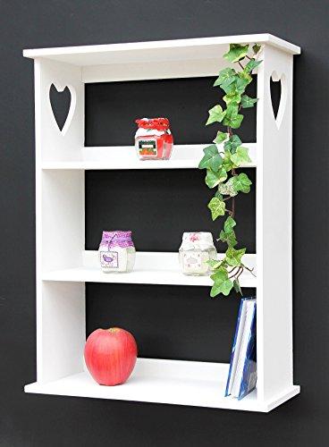 DanDiBo Wandregal mit Herz 12013 Regal 50 cm Vintage Shabby Landhaus Küchenregal Weiß