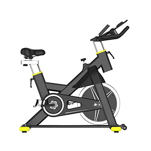 Bici De Spinning - Transmisión Por Cadena Fija, Asiento Ajustable, Bicicleta Estática De Ciclismo Para Interior Con Soporte Para Ipad Y Asiento Cómodo, Rueda De Inercia Bidireccional (Black)