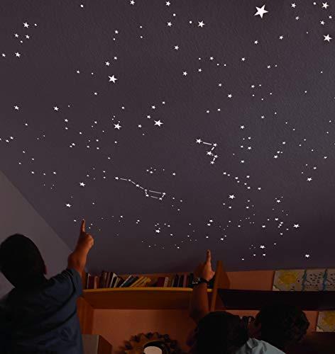 Encambio Alcrea Kit mit 270 Sternenhimmel Aufkleber/leuchtsterne + 2 m2-Vorlage für die EXAKTE WIEDERGABE des HIMMELS + informative Karte. Für Decke oder Wand.