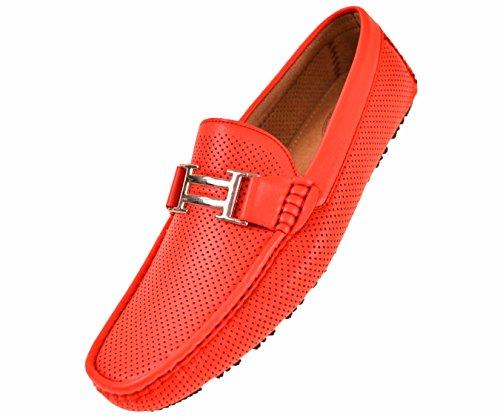 Amali Harry - Men's Driving Moccasins – Mens Slip On Loafer Moccasins, Slip-on Dress Shoes - Original Men's Driving Moccasins with Silver Bit, Red, Size 12