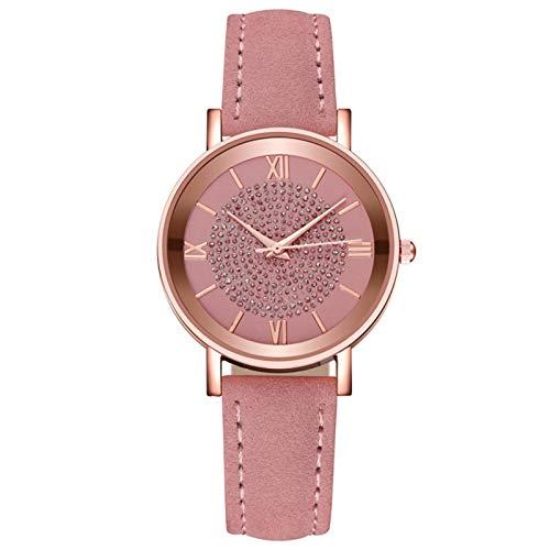 Relojes de cuarzo para mujer, esfera de acero inoxidable, casual, pulsera de cuarzo, reloj de pulsera de regalo, color rosa
