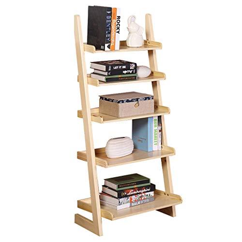 QARYYQ Boekenplank Huishoudelijke Effen Houten Plank Trapeziumvormig Creatieve Vijf-laags Vloer Aan Plafond Wandplank 60.5x39.5x140cm Boekstandaard Wood Color