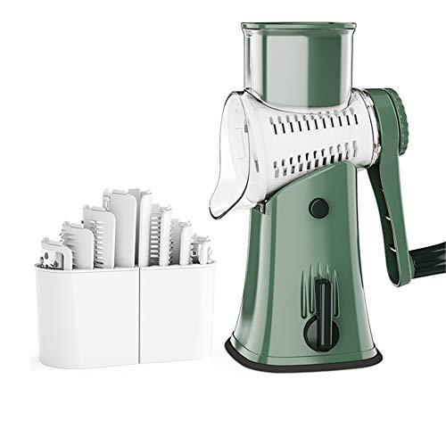 Cortador de verduras,cortador de tambor multifuncional manual,rallador de tambor,rallador de queso,con 5 cuchillas de acero inoxidable,sin electricidad,lavable,utilizado para triturar y moler verduras