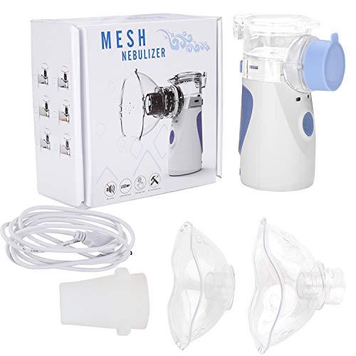 VINGO Tragbar Inhalator Vernebler, Geräuscharmes Dampf-Inhalator Kit, Inhalationsgeräte mit Mundstück und Maske, Für Kinder und Erwachsene Atemwegserkrankungen