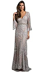 Silver Lara 33275 Long Dress with V-Neck Long Sleeves