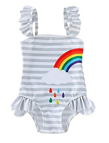 Styles I Love Baby Girl Matching Rainbow One-Piece Swimsuit Twin Girl Best Friend Bathing Suit Beach Swimwear (Left Rainbow, 80/6-12 Months)