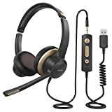 Mpow PC Headset HC6, USB-Headset / 3,5-mm Phone-Headset,Computer Headset mit Mikrofon, Business Leicht Headset mit Rauschunterdrückungs-Soundkarte, USB Headset für Skype, Webinar, Homeoffice