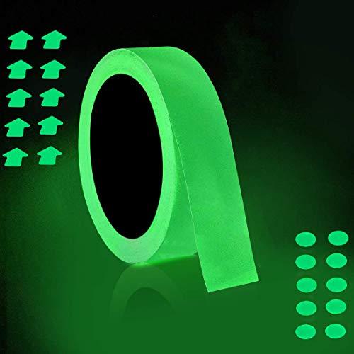 2.5cm x 10m Fluoreszierendes Klebeband, ONTWIE Leuchtendes Band Nachleuchtend Markierungsband Warnband Wasserdicht Luminous Tape,Glow In The Dark,Treppen,Wänden,Ausfahrt Zeichen Leuchtendes Klebeband