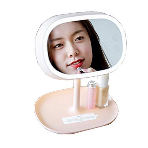 QXHELI spiegel voor make-up, met led-tafellamp, draagbaar, make-upspiegel met spiegel aan één kant van ABS-kunststof