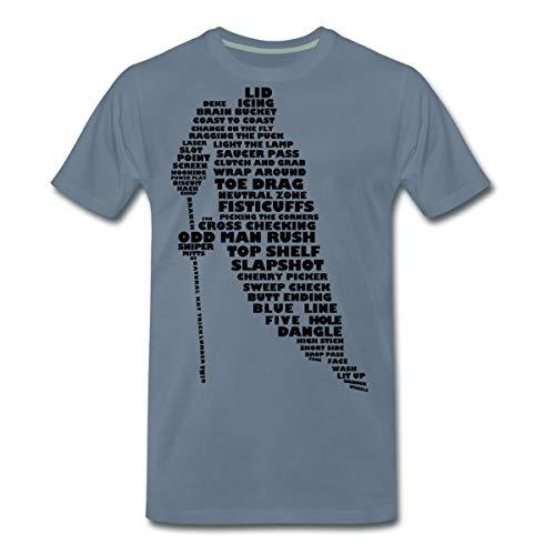 Eishockey Terminologie Ice Hockey Begriffe Männer Premium T-Shirt, L, Blaugrau