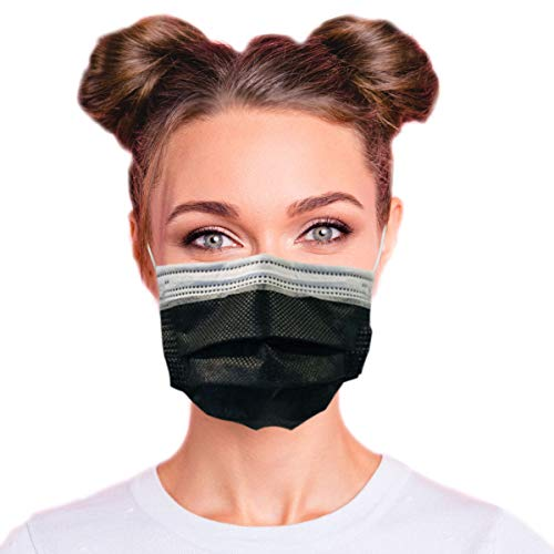 4-Ply Breathable Disposable Face Mask - Made in USA - Highest Protection with Comfortable Elastic Ear Loop | For Travel, Offices, Business and Personal Care - Obsidian Black (50 PCS)