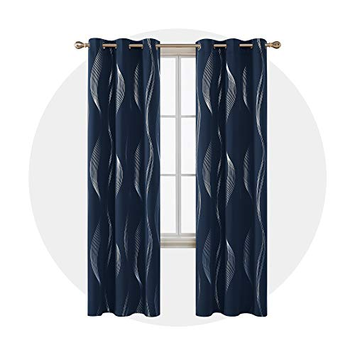 Deconovo Foil Print Wave Thermal Insulated Grommet Blackout Curtain Panels for Kids Room Set of 2 38x72 Inch Navy Blue