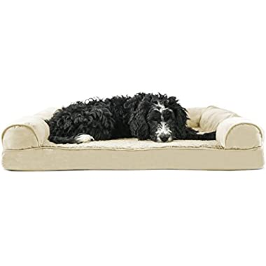 FurHaven Orthopedic Ultra Plush Sofa-Style Couch Pet Bed for Dogs and Cats, Clay, Large